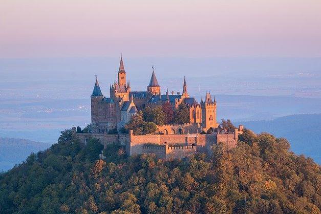 kingdom castle hohenzollern sunrise fortress morning mood