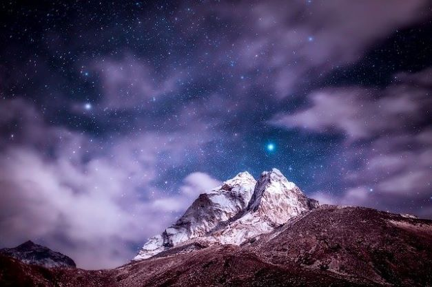 himalayas mountains stars sky clouds night landscape scenic nature outdoors countryside mountainous mountain landscape night starry sky